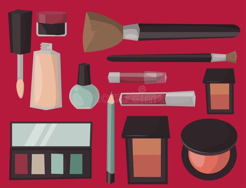 Le soin de mascara de parfum d'icônes de maquillage balaye le vecteur accessoire femelle de charme de fard à paupières fait face  illustration libre de droits