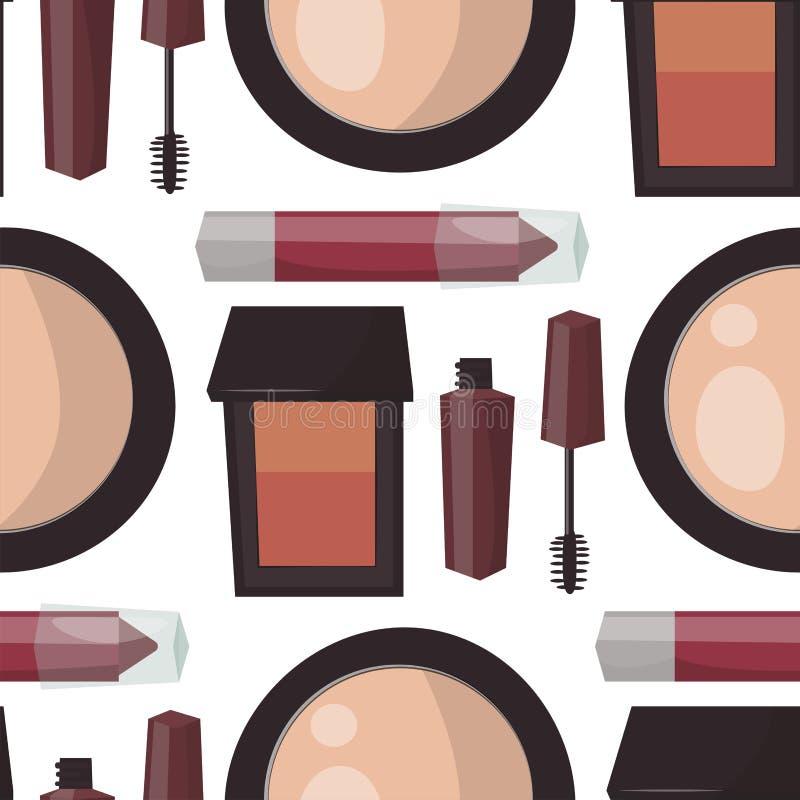 Le soin de mascara de parfum de maquillage balaye le vecteur accessoire femelle de charme de fard à paupières fait face par peign illustration libre de droits