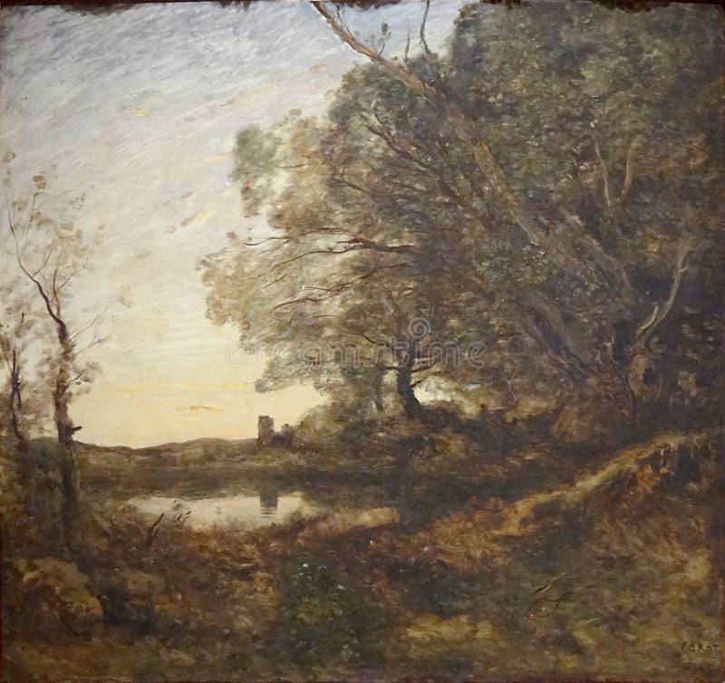 ' Le Soir Ausflug lointaine' , Camille Corot, entre 1865 und 1870 lizenzfreies stockfoto