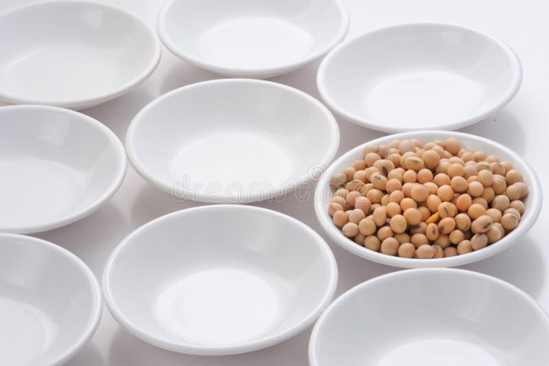 Le soja dans de petites cuvettes par le cercle forme la répétition au CCB blanc images libres de droits