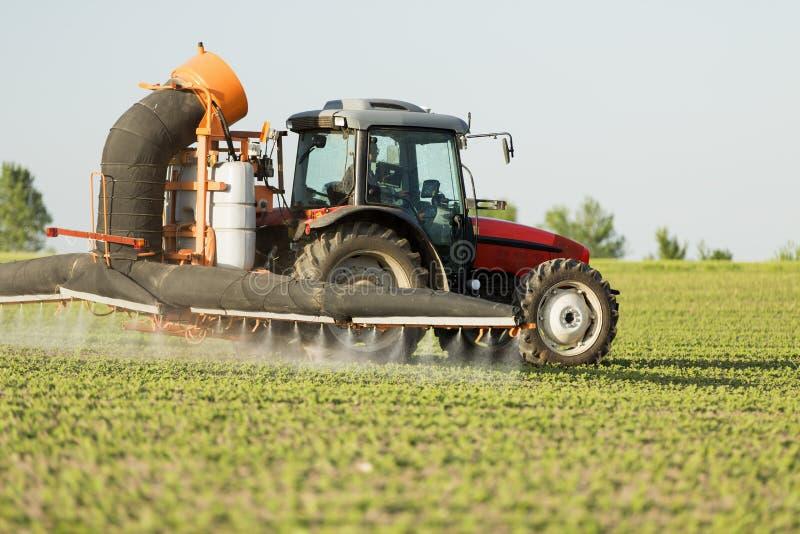 Le soja de pulvérisation de tracteur cultive le champ images stock