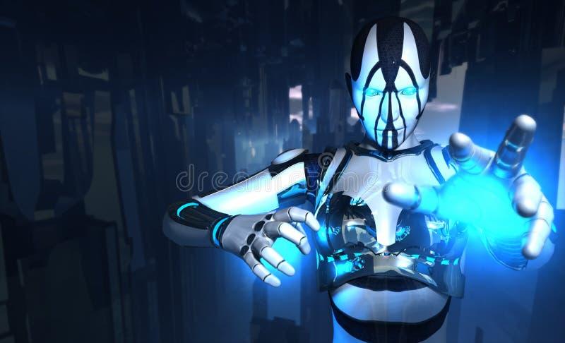 Le soldat de Cyborg retient l'énergie illustration de vecteur