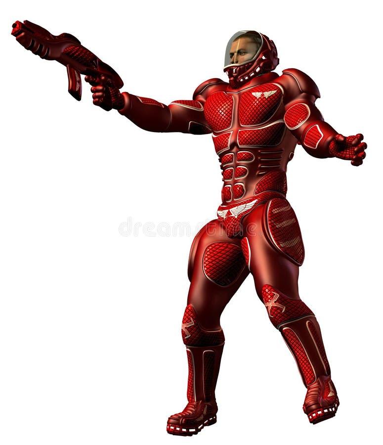 Le soldat futuriste avec l'uniforme rouge et le plasma lourd fusillent illustration libre de droits