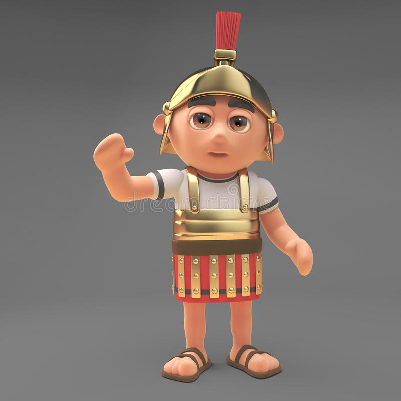 Le soldat romain amical de centurion ondule un bonjour gai, l'illustration 3d illustration libre de droits