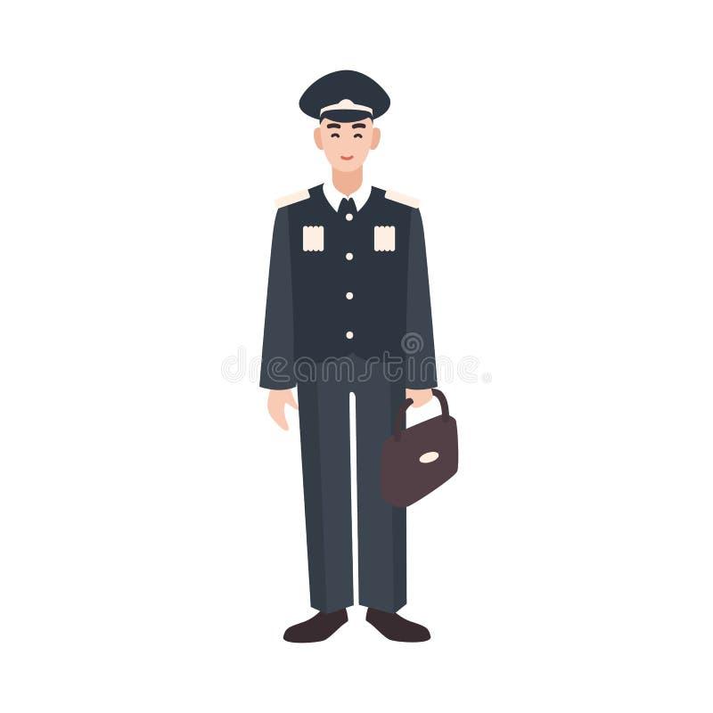 Le soldaten, militären eller den beväpnade styrkatjänaren som bär den formella likformig-, lock- och innehavportföljen Manlig tec vektor illustrationer