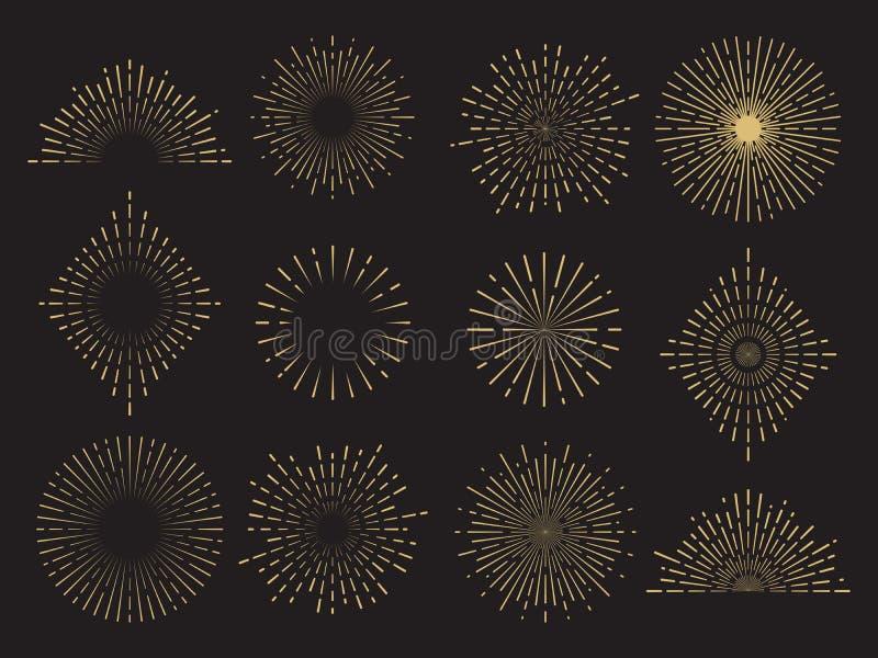 Le soleil abstrait a éclaté la collection - lignes tirées par la main de soleil réglées illustration stock