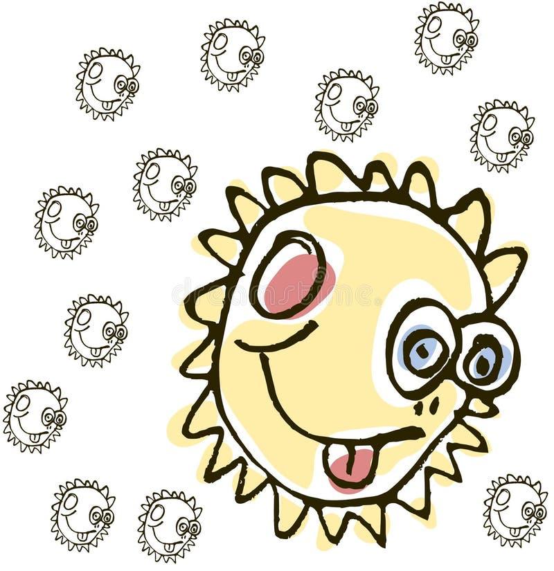 Le soleil abstrait de dessin de main - fond illustration stock