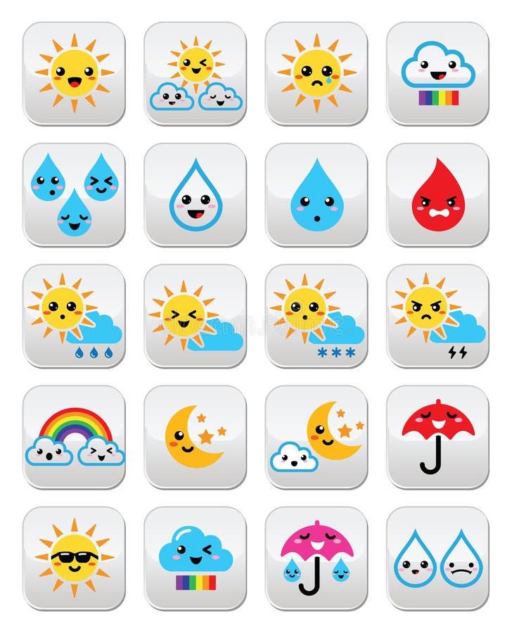 Le soleil, arc-en-ciel, lune, pluie et nuage mignons - Kawaii, Manga se boutonne illustration stock