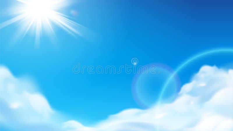 Le soleil brillant scénique avec les nuages pelucheux au ciel illustration libre de droits