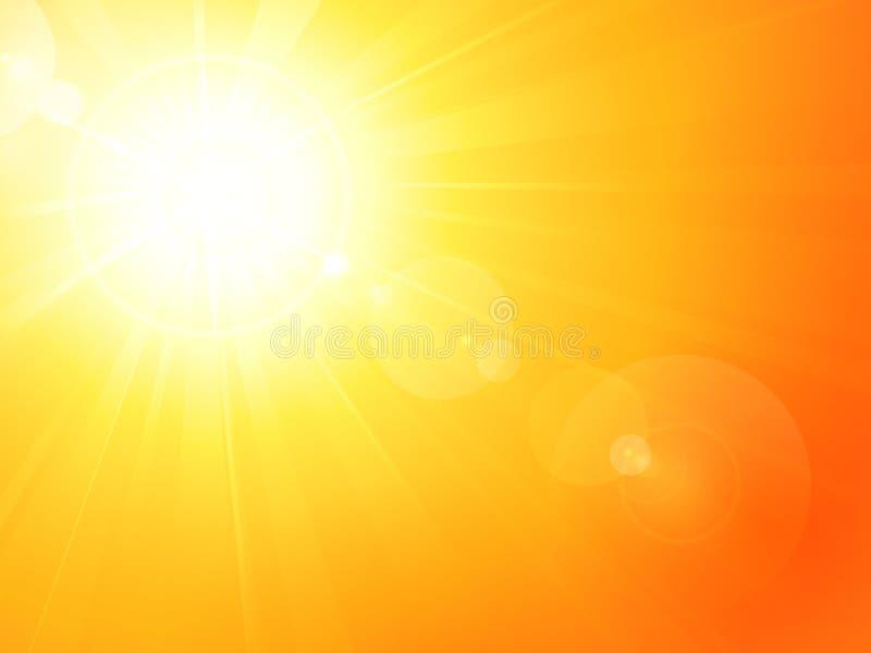 Le soleil chaud vibrant d'été avec l'épanouissement de lentille illustration libre de droits