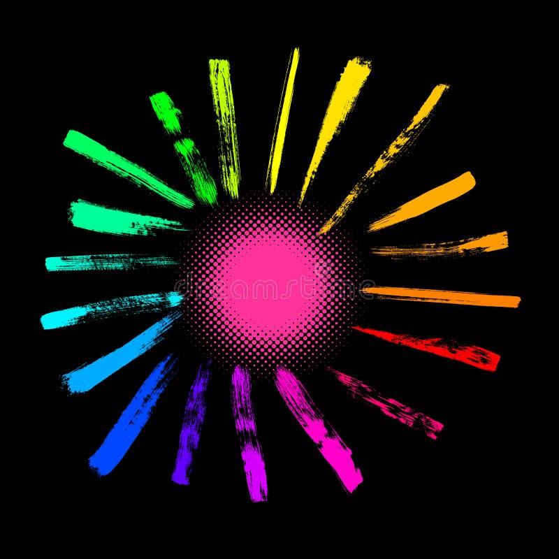 Le soleil coloré de vecteur illustration de vecteur