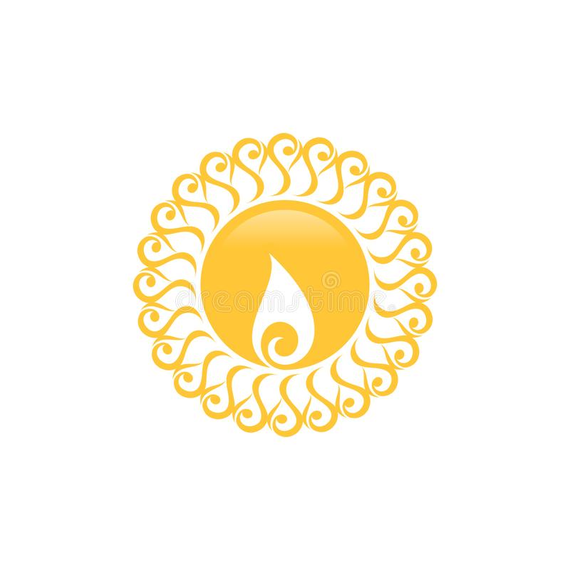Le soleil créatif, abstrait et d'amusement de vecteur avec la conception d'icône d'été d'isolement par ornement illustration de vecteur