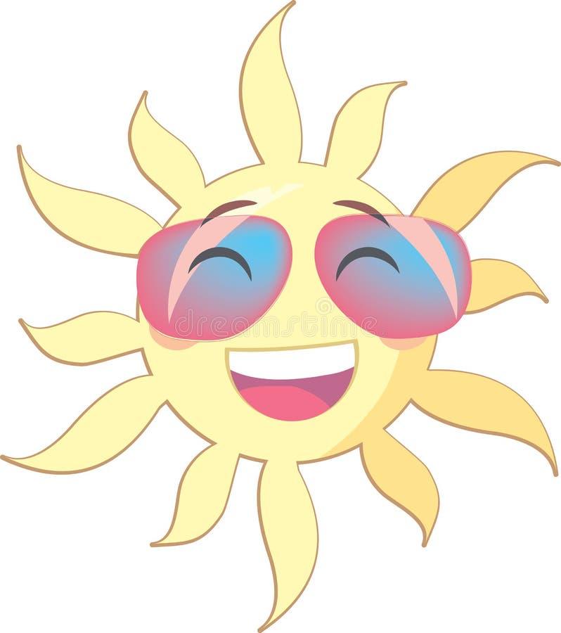 Le soleil d'été avec un visage de sourire utilisant les lunettes de soleil roses illustration stock