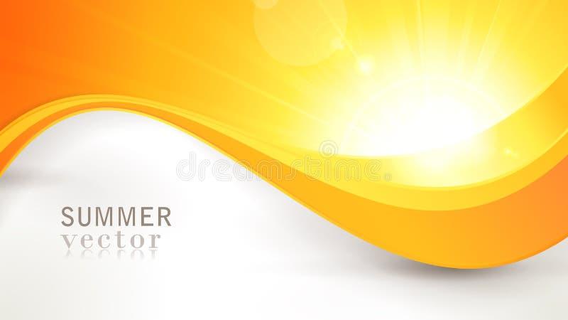 Le soleil d'été de vecteur avec le profil onduleux et la lentille évasent illustration stock
