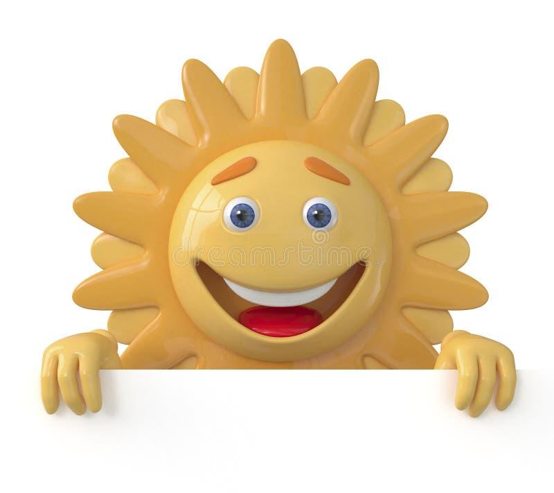 Le soleil 3D avec un panneau d'affichage illustration libre de droits
