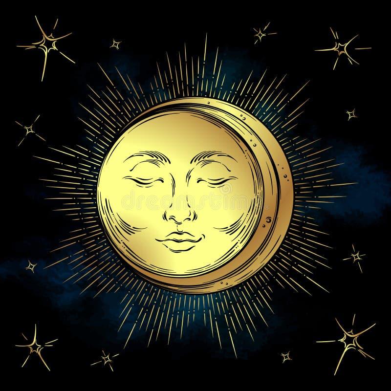 Le soleil d'or d'art tiré par la main antique de style illustration de vecteur