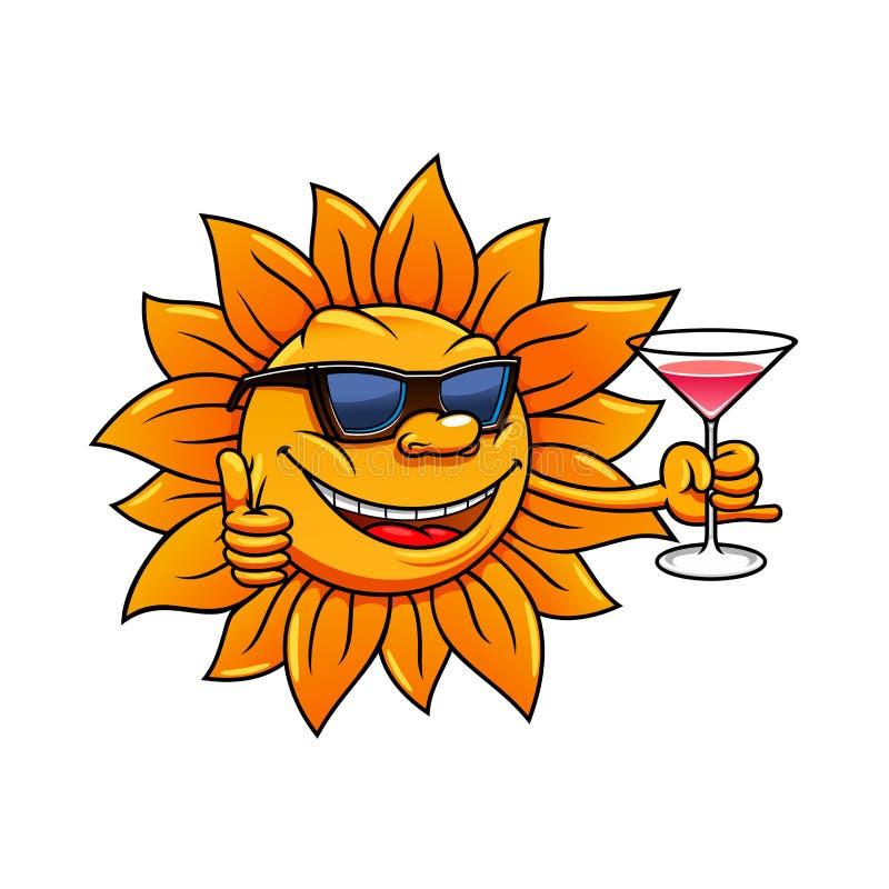 Le soleil de bande dessinée dans des lunettes de soleil buvant le cocktail illustration stock