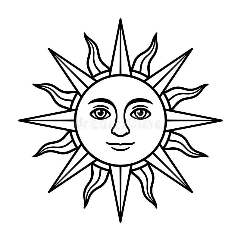 Le soleil de cru avec le visage illustration libre de droits