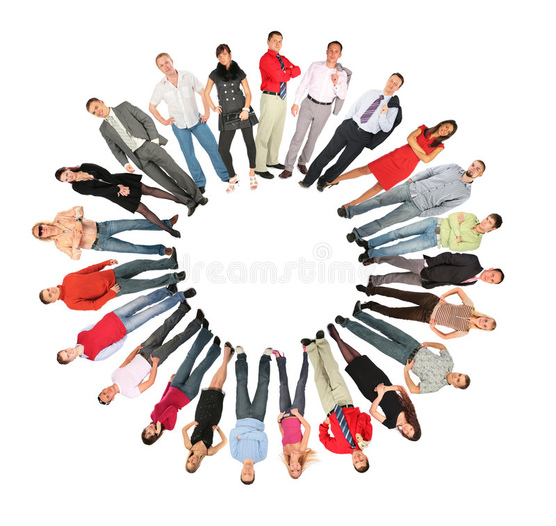 le soleil de gens de forme de foule de collage de cercle photos stock