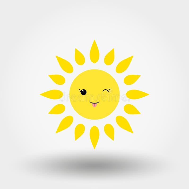 Le soleil de Kawaii winking graphisme Vecteur plat illustration stock