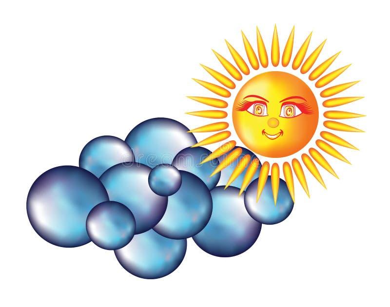 Le soleil de sourire avec les yeux et les raies de la lumière aimables illustration stock
