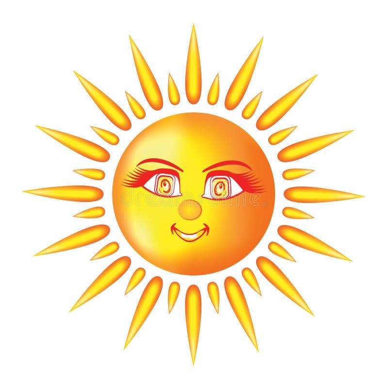 Le soleil de sourire avec les yeux et les raies de la lumière aimables illustration de vecteur