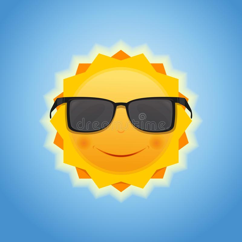Le soleil de sourire gai mignon sur le fond de ciel bleu illustration stock