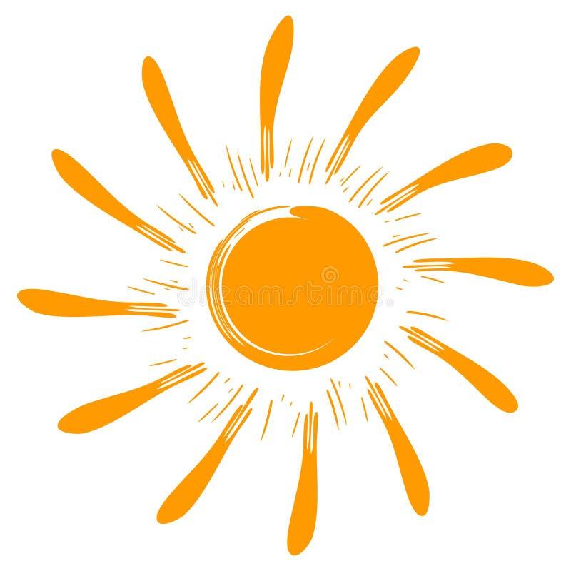 Le soleil de vecteur d'isolement par art illustration de vecteur
