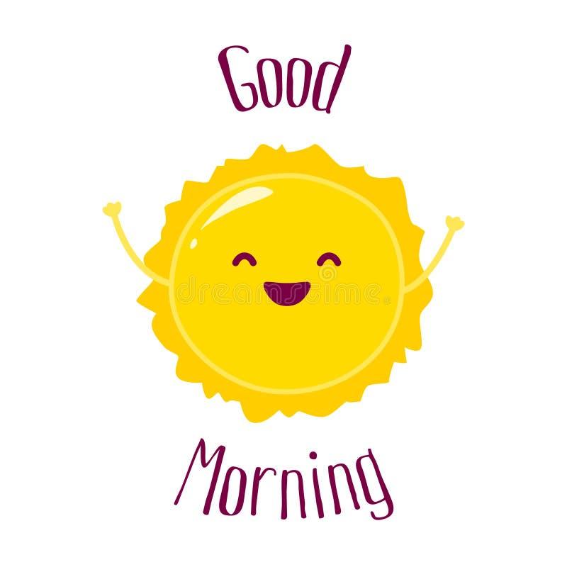 Le soleil drôle de bande dessinée soulève des mains et sourit Carte bonjour Style plat Illustration de vecteur illustration libre de droits