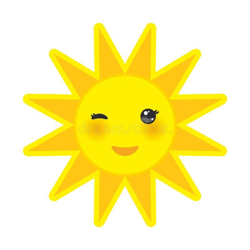 Le soleil drôle de jaune de bande dessinée souriant et clignant de l'oeil observe illustration de vecteur