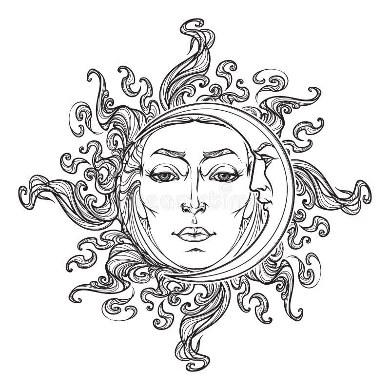 Le soleil et croissant de lune tirés par la main de style de conte de fées avec visages humains illustration libre de droits