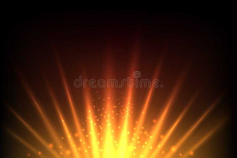 Le soleil et l'éclat de hausse mettent à la terre le fond abstrait jaune rouge de vecteur illustration de vecteur