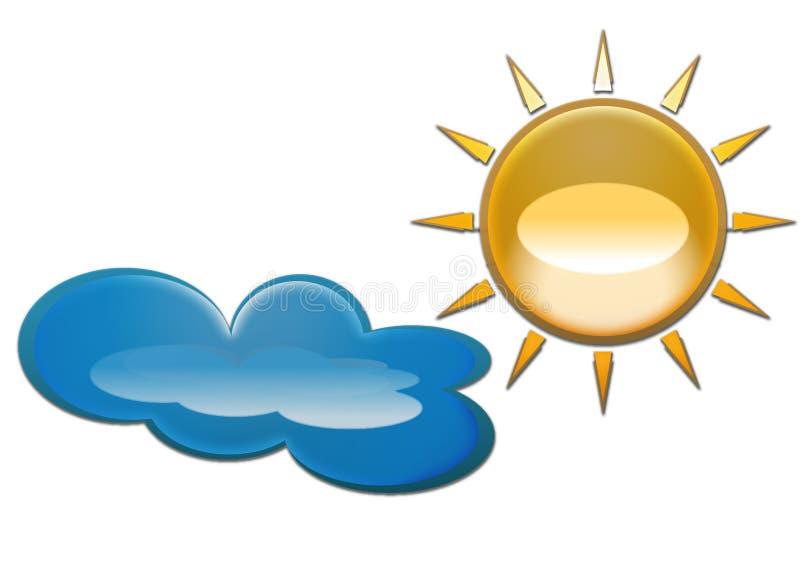 Le soleil et nuage d'isolement illustration libre de droits