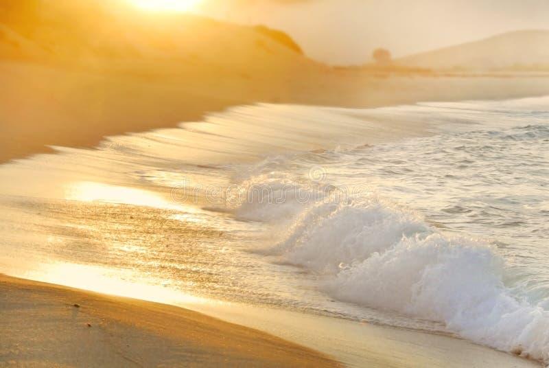 Le soleil et regain de matin au-dessus de vague déferlante d'océan photographie stock libre de droits