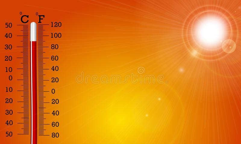 Le soleil et thermomètre très chauds illustration de vecteur