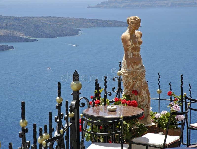 Le soleil grec de vacances d'île de Santorini images stock