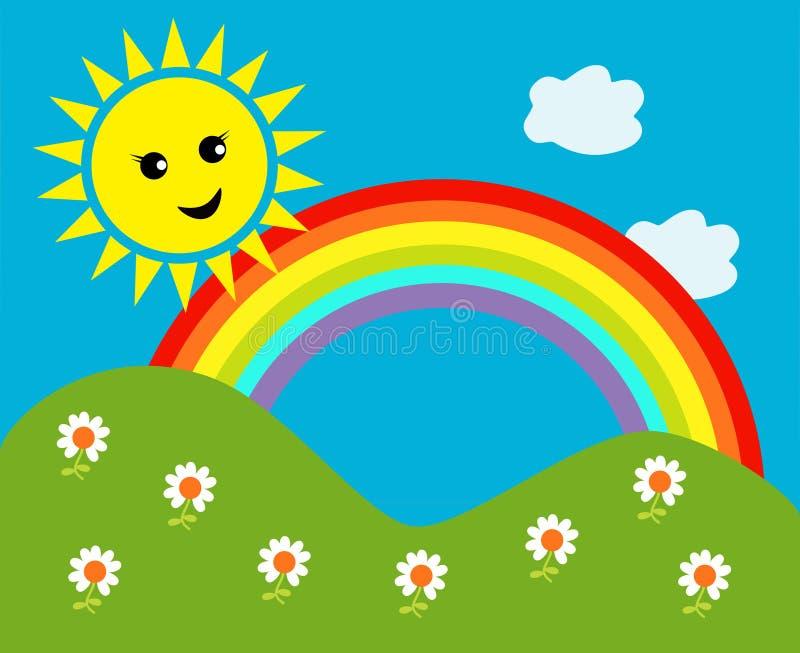 Le soleil heureux avec l'arc-en-ciel et les nuages illustration de vecteur