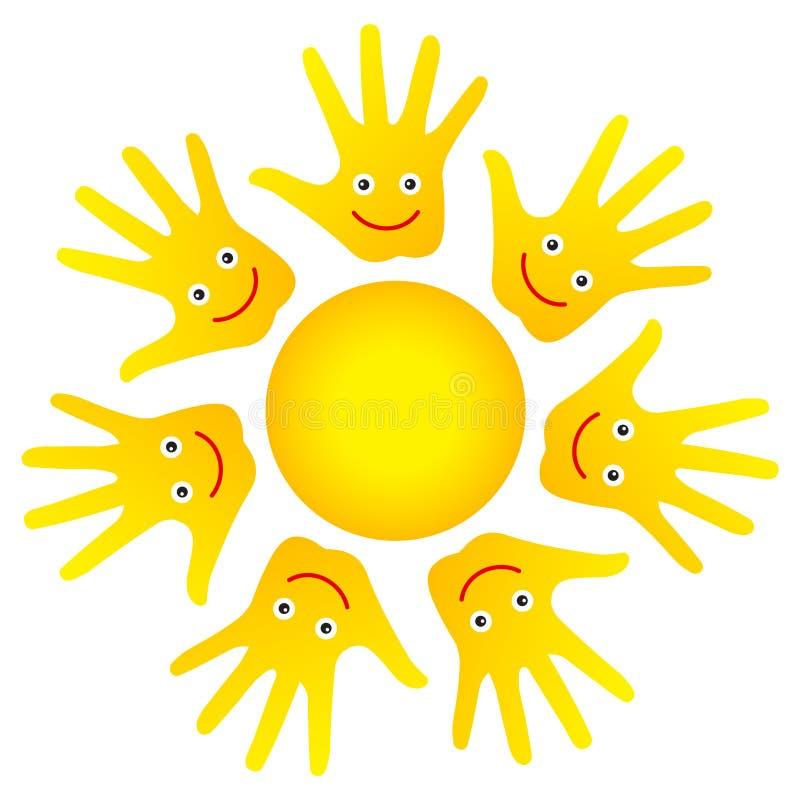 Le soleil heureux de mains de visages illustration libre de droits