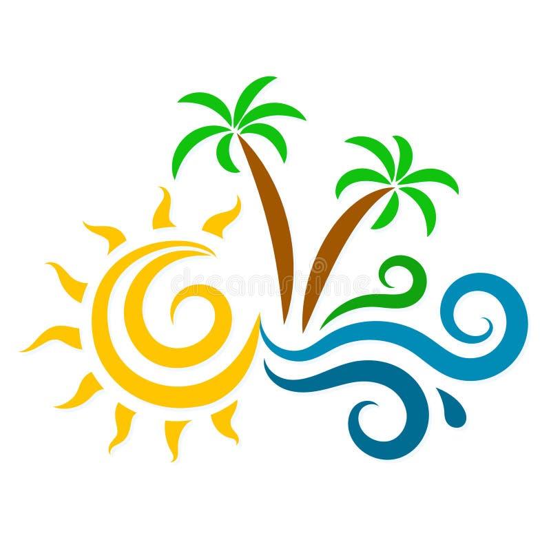 Le soleil, les vagues et la silhouette de palmiers illustration de vecteur