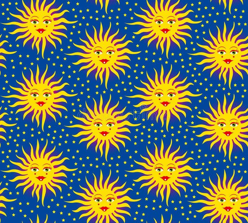 Le soleil médiéval de configuration sans joint illustration stock