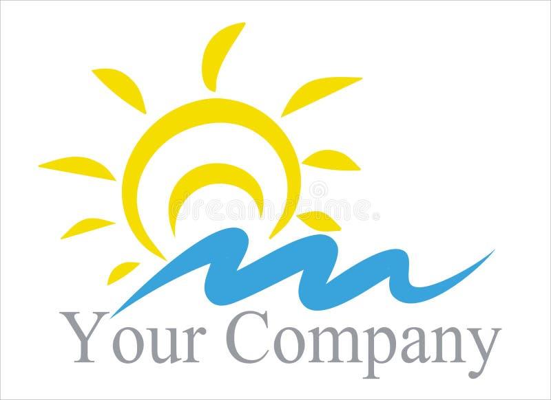 Le soleil marin de logo, vague illustration de vecteur