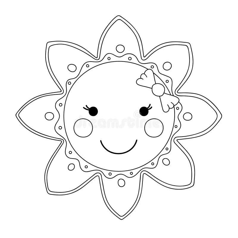 Le soleil noir et blanc de bande dessinée illustration stock