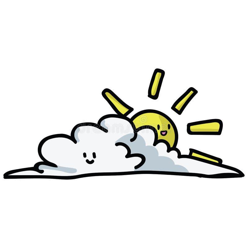 Le soleil nuageux mignon avec l'ensemble de motif d'illustration de vecteur de bande dessin?e de visage de kawaii Ic?nes tir?es p illustration de vecteur