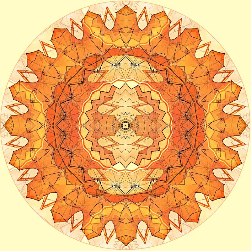 Le soleil orange de modèle sans couture de conception d'art de Digital sur le jaune illustration de vecteur