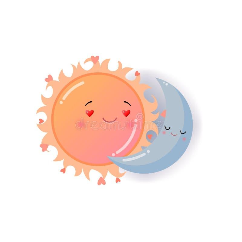 Le soleil orange et lune bleue dans l'autocollant d'emoji d'amour d'isolement sur le fond blanc illustration de vecteur