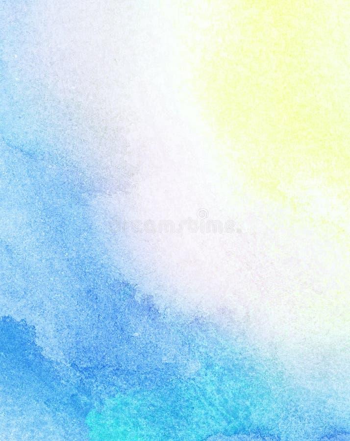 Le soleil peint d'aquarelle, lumière du soleil, l'eau illustration libre de droits