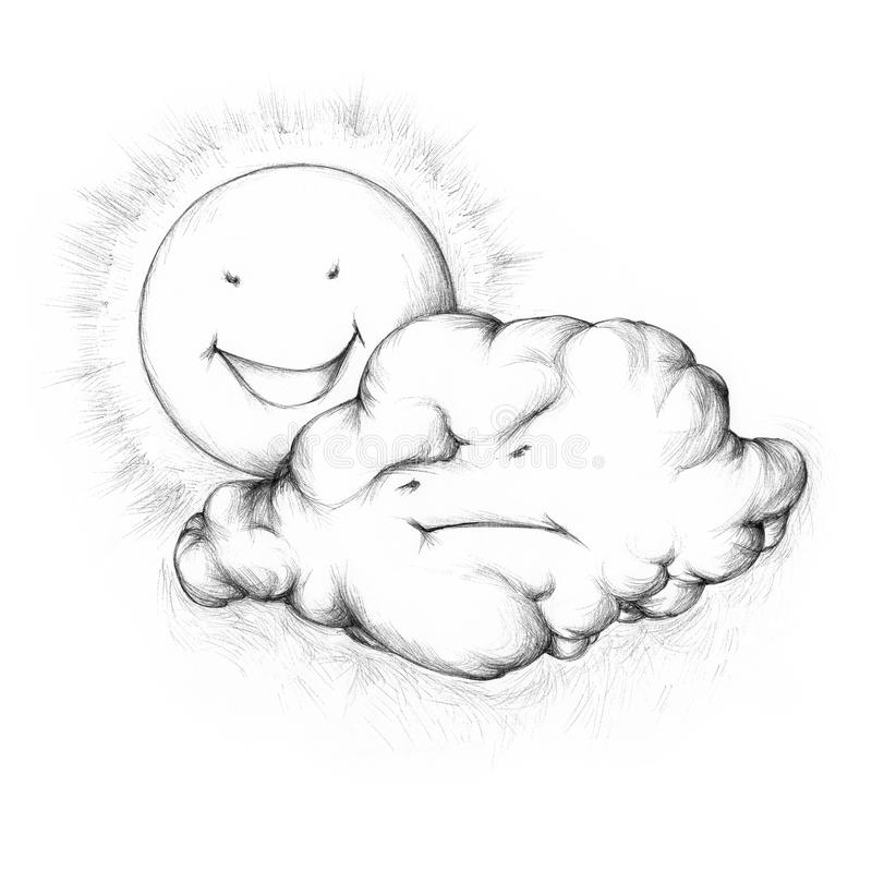 Le soleil riant derrière un nuage de pluie fâché illustration libre de droits