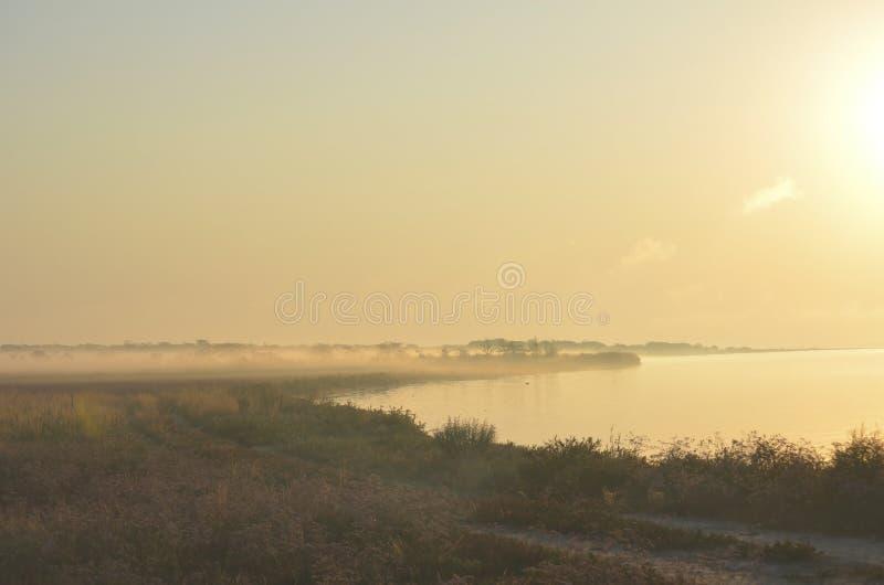 Le soleil se lève sur un lac brumeux photo libre de droits