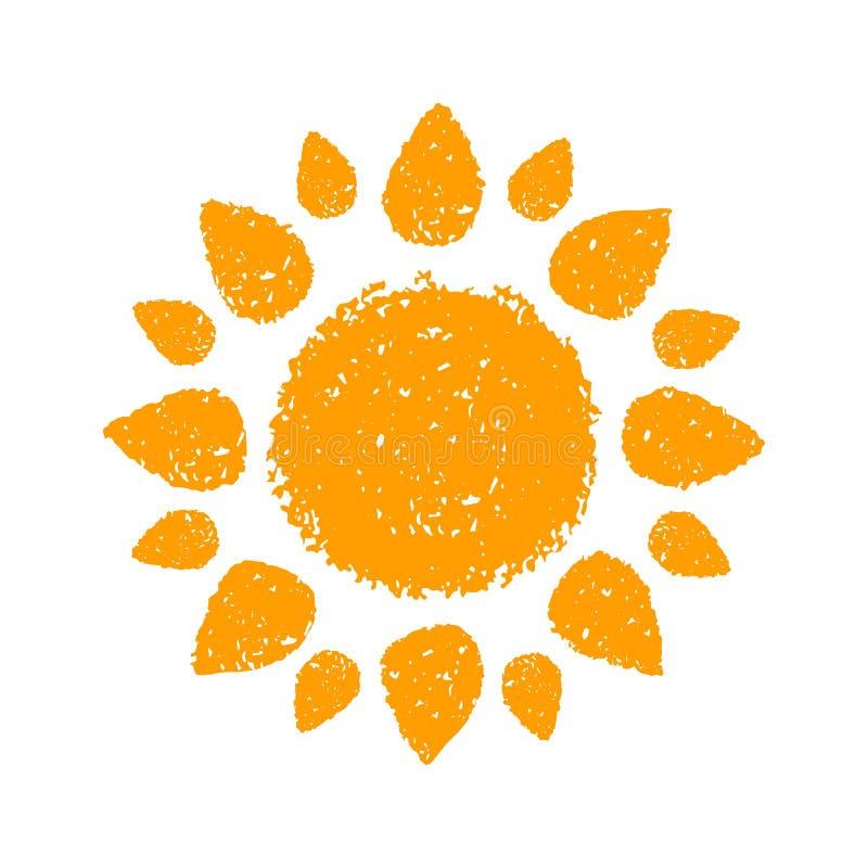Le soleil tiré par la main illustration de vecteur