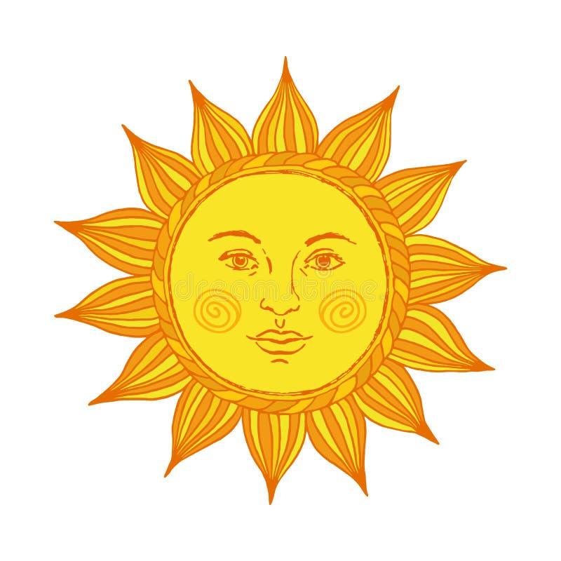 Le soleil tiré par la main avec le visage et les yeux Alchimie, symbole médiéval, occulte, mystique du soleil Illustration de vec illustration stock